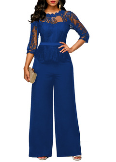 M&J Lace Jumpsuit Women Rompers Elegant Ladies Office Work Wear Women Wide Leg Tracksuit Long Pants blue s