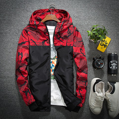 Spring Autumn Men's Jackets Camouflage Military Hooded Coats Casual Zipper Male Windbreaker Men red m