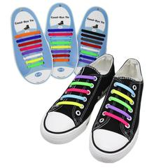 16PCS Elastic Silicone Shoelaces Shoes Special Shoelace No Tie Shoe Laces Men Women Lacing Shoes muliticolor one size