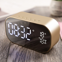 LED Alarm Clock With Wireless Bluetooth Speaker Support Aux TF USB Music Player Office Bedroom gold 2*3w S2