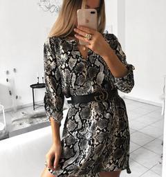 Women Sexy Leopard Snake Print Striped Long Sleeve Dress Casual Mini Dresses Office Work Shirts Tops black s
