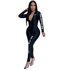 Long Sleeve Bodycon Jumpsuits Women Letter Print Zipper Skinny Rompers Women Jumpsuit Overalls black s