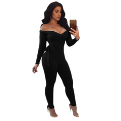 M&J Fashion New Women Jumpsuits Sexy V Neck Long Sleeve Jumpsuit Bodycon Rompers Clubwear black s