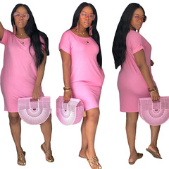 New Fashion Solid Color Short Sleeve Dresses Women Sexy Casual Dress Party Club Dresses s pink
