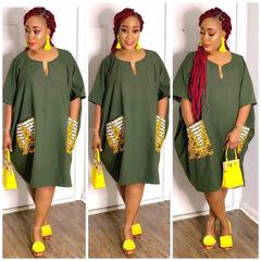 M&J Plus Size Women Casual Dresses Print Women Dress Short Sleeve Loose Maternity Dresses s army green