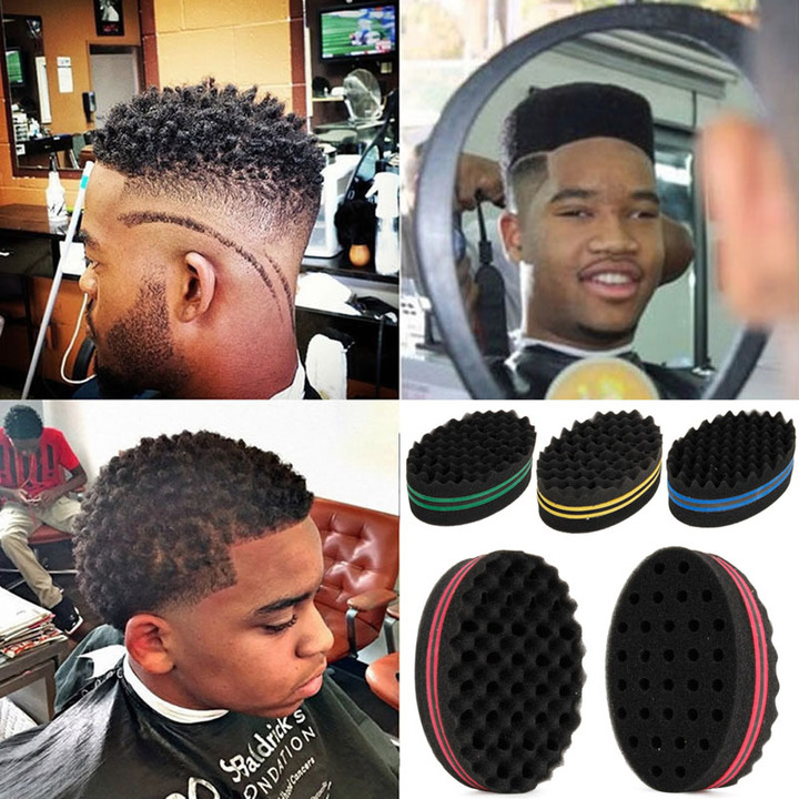 Oval Double Sides Magic Twist Hair Brush Sponge Brush Natural Afro Coil Wave Dread Sponge Brushes random 14.5*9.5*5.5cm