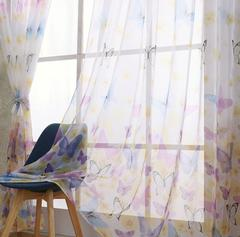 Romantic Butterfly Print Window Curtains Room Divider For Living Room Bedroom Home Decor blue 200*100cm