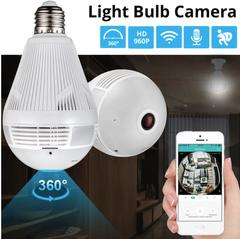 LED Light 960P Wireless Panoramic Home Security WiFi CCTV Bulb IP Camera 360 Degree Hidden Camera 960p white light one size