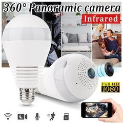 LED Light 960P Wireless Panoramic Home Security WiFi CCTV Bulb IP Camera 360 Degree Hidden Camera 1080p double light one size