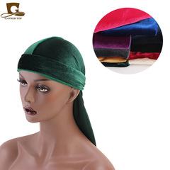 Unisex Men Women Breathable Bandana Hat Velvet Durag Doo Rag Long Tail Headwrap Chemo Cap green