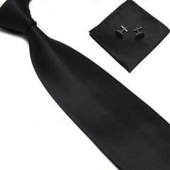 Men Classic Solid Plain Fine Tie Woven Skinny Silk Blend Suits Ties Neckties Men Tie Set black 145*10cm