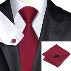 Men Classic Solid Plain Fine Tie Woven Skinny Silk Blend Suits Ties Neckties Men Tie Set red 145*10cm