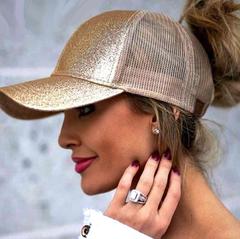 Ponytail Baseball Caps Women Messy Bun Snapback Mesh Hats Casual Sport Sequin Caps Hats gold