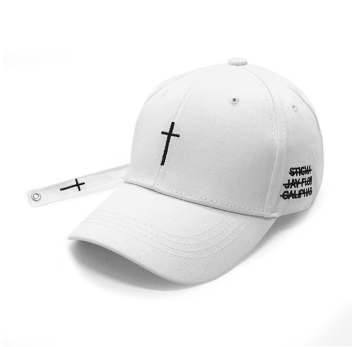 New Fashion Women Men Cross Belt Baseball Caps Letter Snapback Hats Casual Cross Cap Bone Lovers white&black cross adjustable