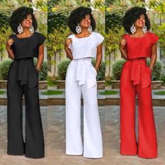 M&J New Fashion Women 2PCS Set Suits Office Work Wide Leg Pants Short Sleeve Tops Casual Suit white s