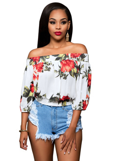 Ins Hot Floral Print Women Tops Sexy Off Shoulder Blouses Vintage Top Shirts Fashion Tops white s
