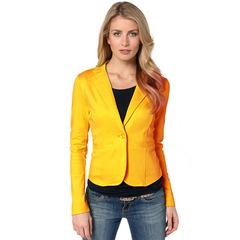 Women Blazer Long Sleeve Solid One Button Coats Slim Office Lady Jackets Women Tops Suit yellow s