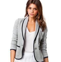 Plus Size Elegant Women Formal Office Coats Long Sleeve Blazer Two Button Jackets Casual Slim Suit light grey s