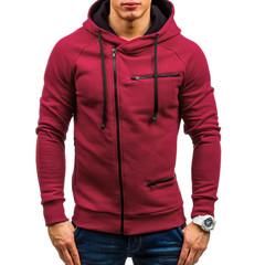 New Arrival Men Sweatshirts Autumn Outwear Blouse Men Hoodies Solid Long Sleeve Hoody Men's Clothing red m