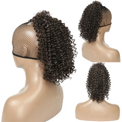 Afro Kinky Curly Ponytail African Wigs Short Wrap Synthetic clip in Ponytail Hair Extensions Q14-2# 30CM