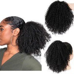 Afro Kinky Curly Ponytail African Wigs Short Wrap Synthetic clip in Ponytail Hair Extensions Q14-1B 30CM