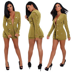 2 Piece Set Women V Neck Long Sleeve Tops And Shorts Sexy Lady Official Jacket Two Piece Set green s