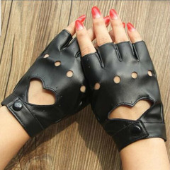 Hot Women Semi-finger Hip-hop Style Gloves Lady's PU Leather Heart Cutout Sexy Gloves Girls Dancing