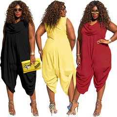 New Fashion Plus Size Women Sexy Sleeveless Jumpsuits Solid Loose Jumpsuits Rompers Casual Overalls black xl