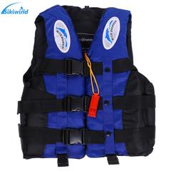 Life Jacket Adult Kids Universal Outdoor Swimming Boating Ski Vest Survival Suit with Whistle blue S