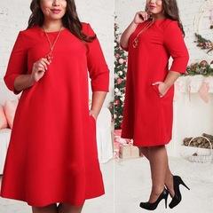 Plus Size Women Dresses  Office Ladies Dress Casual Party Dresses Fashion Dress Vestidos l red