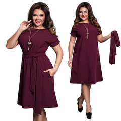 Sexy Party Plus Size Solid Dresses With Belt Elegant Women Dress Large Size Slim Office Dresses l wine red