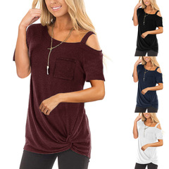 M&J New Women Fashion Tops Short Sleeve Solid T-shirt Casual Off Shoulder Shirts Sexy Irregular Tops wine red s