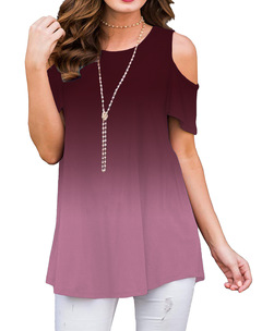 New Arrival Women Shirts Short Sleeve O-Neck Gradient Color Loose Casual T-Shirt Off Shoulder Tops wine red up s