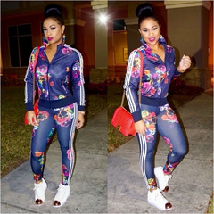 Hot Casual Tracksuit Women 2 Piece Set Top And Pants Striped Patchwork Floral Sweatshirt Suits purple s