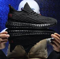 Flying Woven Fish Scales Casual Shoes Men Sneakers Yeezs Shoes Men Run Shoes Boost black 39