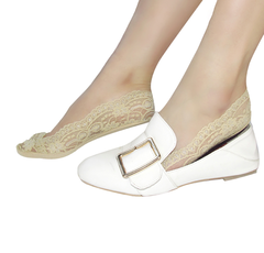 Women Silicon Gel Lace Boat Socks Invisible Cotton Sole Low Cut Socks Anti-Slip Socks 1 pair free size