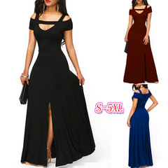 Plus Size Sexy Women V Neck Off Shoulder Long Dress Solid Evening Party Dresses Split Maxi Dress s black