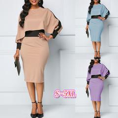 M&J Plus Size Women Hit Color Dresses Elegant Office Work Dress Long Sleeve Party Dress s khaki