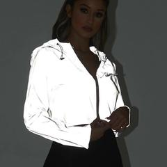 Ins Hot New Reflective Female Jackets Casual Sport Hooded Short Coat Women Crop Tops grey s