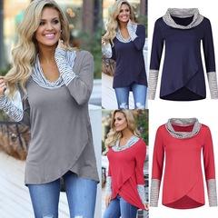 Women T-shirt O-Neck Stripe Long Sleeve Sweatshirt Tops Female Blouse Shirt Cotton Blend Shirts grey s