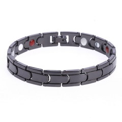 Magnetic Hematite Copper Bracelet Men Health Bracelets With Buckle Clasp Therapy Bangles Jewelry black 205*12mm