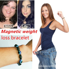 Weight Loss Stone Magnetic Therapy Bracelet Health Care Magnetic Hematite Bracelets For Men Women blue&black elastic