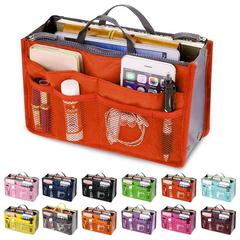 Organizer Insert Bag Women Nylon Travel Organizer Handbag Large Liner Lady Makeup Cosmetic Bags orange 28.5*18.5*10CM