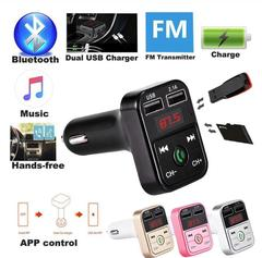 Bluetooth FM Transmitter Hands Free Car Kit Car Styling MP3 Music Player TF USB Charger FM Modulator black as picture