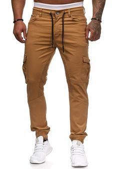 Hot Cargo Pants Men Cotton Military Pockets Causal Hip Hop Pants Men Fashion Slim Fit Trousers khaki m