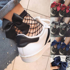 Hot Fashion Women Ruffle Large Fishnet Ankle High Socks Bow Tie Mesh Lace Fish Net Short Socks black free size