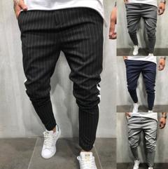 Men Twill Fashion Jogger Pants New Stripe Urban Straight Casual Trousers Slim Fitness Long Pants black m