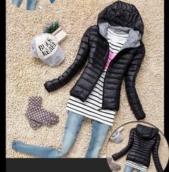 Fashion Down Short Design Coats Winter Cotton-padded Jackets Women Slim Solid Zipper Outerwear black s