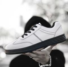 Men Shoes Casual Flat Shoes Lace-up  White Male Sneakers Skateboard Shoes white&black 39