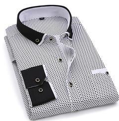 Men Fashion Long Sleeve Printed Shirts Slim Fit Male Social Business Dress Shirt Brand Men Clothing SH215 Asian S Label 38